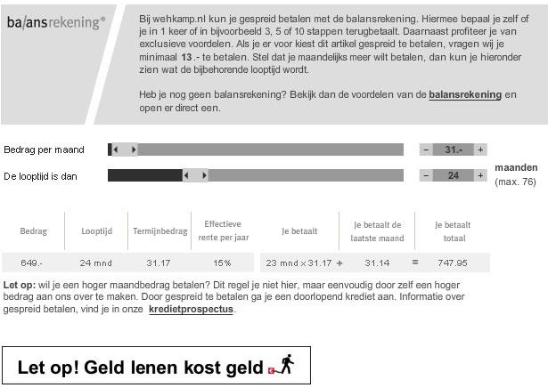 Wehkamp   Informatie over kopen op afbetaling